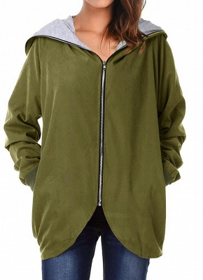 Autumn Winter Hoodies Zip Up Long Sleeve Plus Size Loose Women's Jacket_2