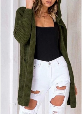 Women Hooded Knitted Cardigan Lace Up Split Long Sleeves Sweater_2