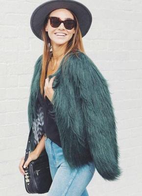 Faux Fur Coat Long Sleeve Fluffy Outerwear Short Jacket Hairy Warm Overcoat_10