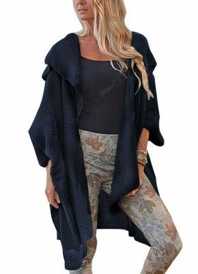 Women Loose Sweater Cardigan Open Front Batwing Sleeve Solid Split Knitted Outerwear_4