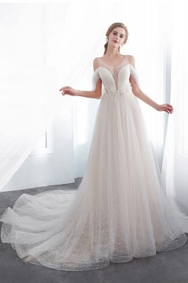 NANCY | Affordable Sleeveless Floor Length Lace Ivory Wedding Dresses_5