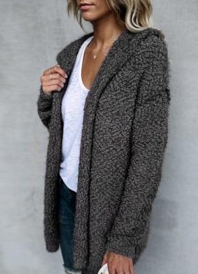 Fashion Women Fleece Hooded Cardigan Open Front Long Sleeve Solid Warm Hoodie Outerwear Loose Sweater Coat_4