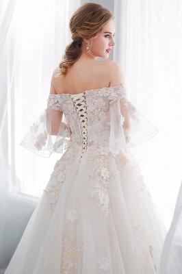 NANCE   Puffy Off-the-shoulder Floor Length Lace Appliques Wedding Dresses_11
