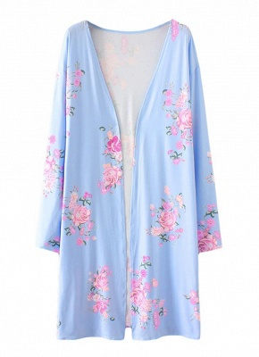 Fashion Long Cardigan Front Floral Print Long Sleeves Women's Outerwear_2