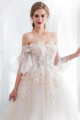 NANCE   Puffy Off-the-shoulder Floor Length Lace Appliques Wedding Dresses_8
