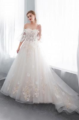 NANCE   Puffy Off-the-shoulder Floor Length Lace Appliques Wedding Dresses_4