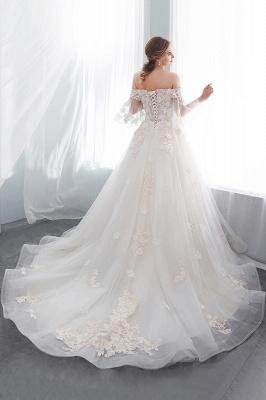 NANCE   Puffy Off-the-shoulder Floor Length Lace Appliques Wedding Dresses_7