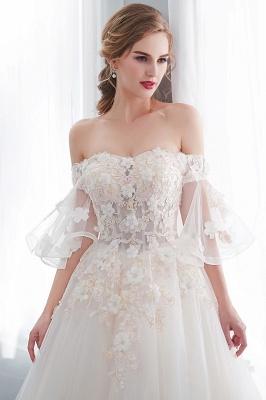 NANCE   Puffy Off-the-shoulder Floor Length Lace Appliques Wedding Dresses_9