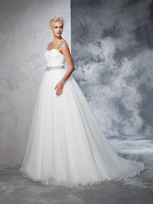 Long Ruched Sleeveless Wedding Dresses | Stunning Tulle Puffy Straps Bridal Gowns_5