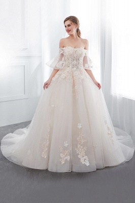 NANCE   Puffy Off-the-shoulder Floor Length Lace Appliques Wedding Dresses_5