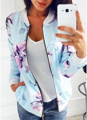 Floral Print Coats Long Sleeve Zipper Bomber Jacket Casual Top Streetwear_3