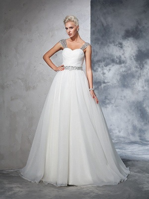 Long Ruched Sleeveless Wedding Dresses | Stunning Tulle Puffy Straps Bridal Gowns_4