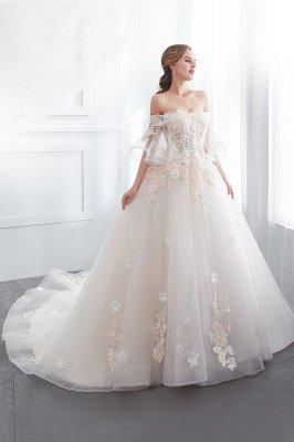 NANCE | Puffy Off-the-shoulder Floor Length Lace Appliques Wedding Dresses_5