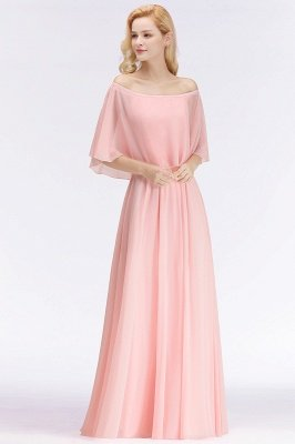 A-line Long Off-the-shoulder Pink Bridesmaid Dresses with Sleeves_4