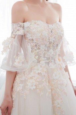 NANCE | Puffy Off-the-shoulder Floor Length Lace Appliques Wedding Dresses_9