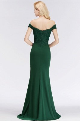 Cheap Mermaid Off-the-shoulder Long Appliques Satin Bridesmaid Dress in Stock_11