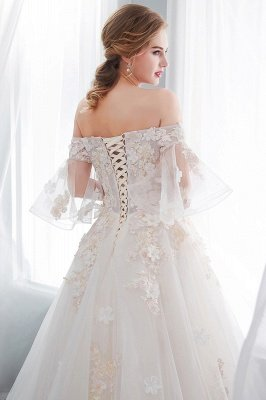 NANCE | Puffy Off-the-shoulder Floor Length Lace Appliques Wedding Dresses_10