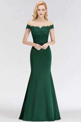 Cheap Mermaid Off-the-shoulder Long Appliques Satin Bridesmaid Dress in Stock_13