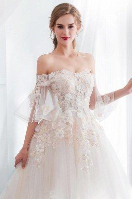 NANCE | Puffy Off-the-shoulder Floor Length Lace Appliques Wedding Dresses_7