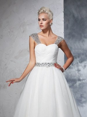 Long Ruched Sleeveless Wedding Dresses | Stunning Tulle Puffy Straps Bridal Gowns_6