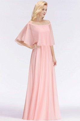 A-line Long Off-the-shoulder Pink Bridesmaid Dresses with Sleeves_5