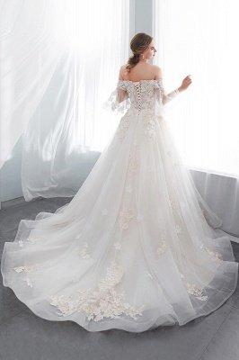 NANCE | Puffy Off-the-shoulder Floor Length Lace Appliques Wedding Dresses_6
