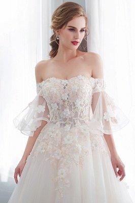 NANCE | Puffy Off-the-shoulder Floor Length Lace Appliques Wedding Dresses_8