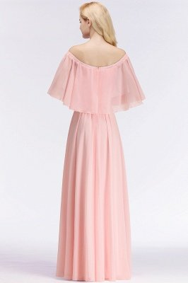 A-line Long Off-the-shoulder Pink Bridesmaid Dresses with Sleeves_3