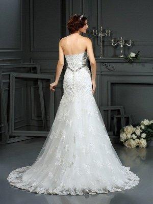 Strapless Sleeveless Beaded Sexy Mermaid Long Lace Wedding Dresses_2