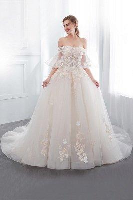 NANCE | Puffy Off-the-shoulder Floor Length Lace Appliques Wedding Dresses_4