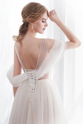 NANCY | Affordable Sleeveless Floor Length Lace Ivory Wedding Dresses_7