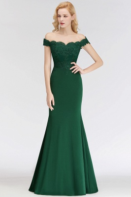Cheap Mermaid Off-the-shoulder Long Appliques Satin Bridesmaid Dress in Stock_10