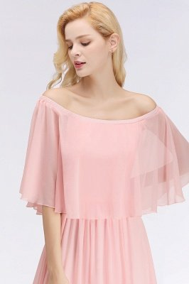 A-line Long Off-the-shoulder Pink Bridesmaid Dresses with Sleeves_6