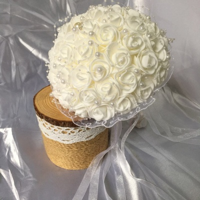 Silk Ivory Rose Wedding Bouquet with Lace ribbons_4