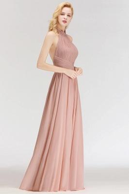 Halter A-line Chiffon Floor-length Backless Sleeveless Fashion Bridesmaid Dress_5