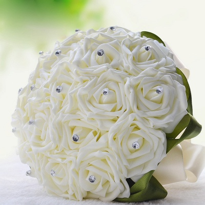 Ivory Silk Beading Rose Bouquet with Colorful Ribbons_13