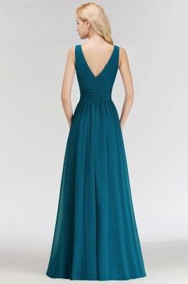 NORA   Cheap A-line V-neck Sleeveless Long Ruffles Chiffon Bridesmaid Dresses_3