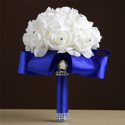 White Silk Rose Crystal Beading Bouquet in Colorful Handles_6