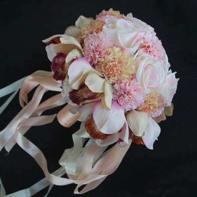 Silk Rose Artificial Orchid and Marigold Wedding Bouquet_4