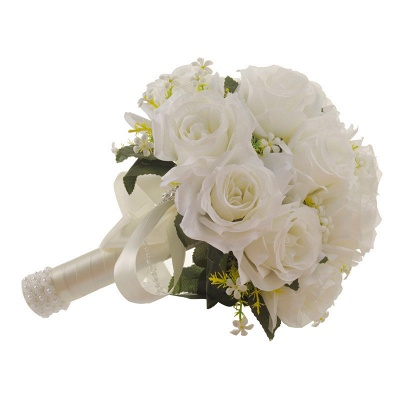 White Rose Artificial Wedding Bouquet with Handle_4