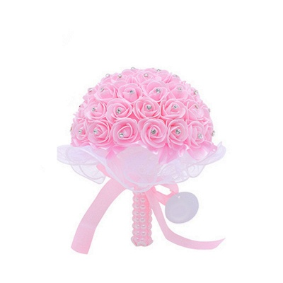 Feminine Multiple Colors Wedding Bouquet with Ribbons_1