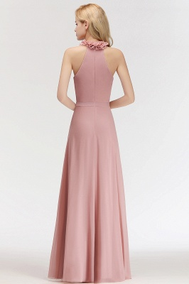 A-line  Halter Sleeveless Ruffled Floor Length Bridesmaid Dresses_2