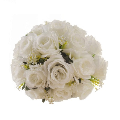 White Rose Artificial Wedding Bouquet with Handle_6