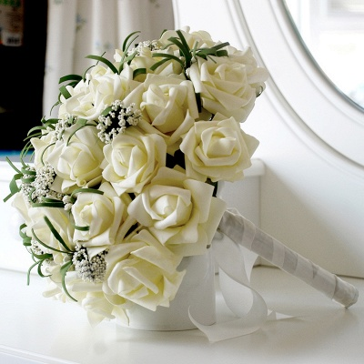Silk Rose Wedding Bouquet in Ivory with Ribbons_3
