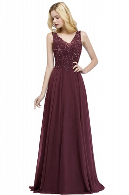 Cheap A-line V-neck Sleeveless Long Appliqued Chiffon Prom Dress with Crystals in Stock_1