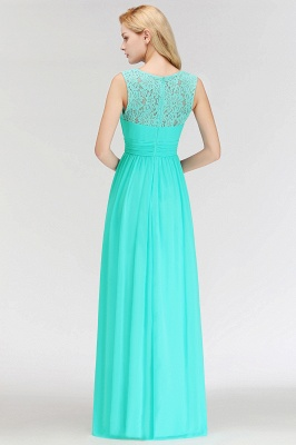 A-line Sleevless Long Lace Appliques Neckline Bridesmaid Dress In Stock_3
