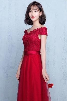 Lace A-Line Off-Shoulder Red  Elegant Evening Dresses_3