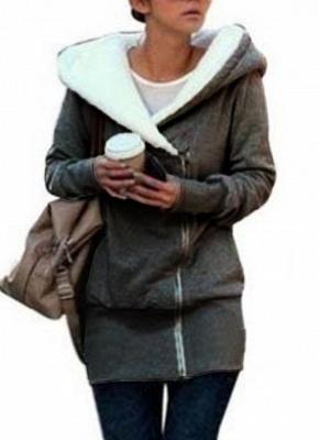 Women Autumn Winter Warm Coat Zipper Outerwear Hooded Sweatshirts_3