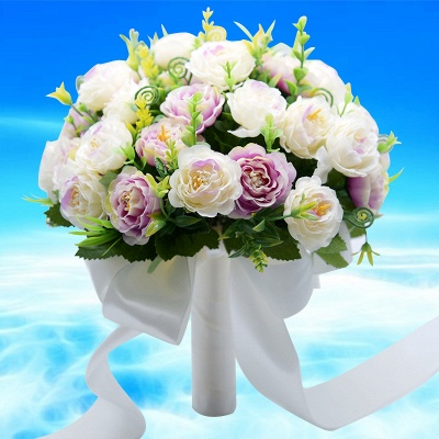 Artificial Rose Wedding Bouquet in Two Colors_3