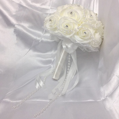 Ivory Rose Bouqet for Wedding with Beading Strings_3